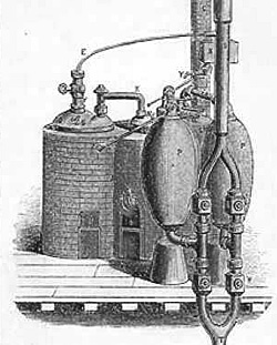 Early steam engine by Thomas Savery for pumping water