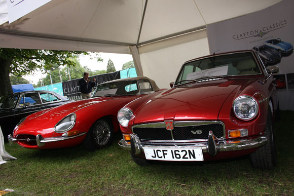 Jaguar E-Type and MG BGT V8 at Beaulieu International Autojumble 2015