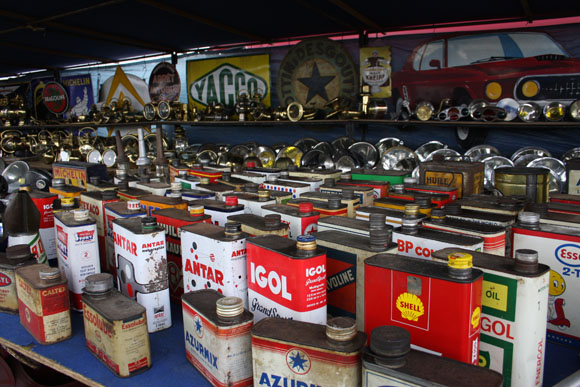 Classic oil cans at Beaulieu Autojumble 2015