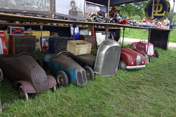 Classic tin toy cars for sale at Beaulieu International Autojumble 2015